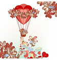 cute valentines day card hand drawn air balloon vector image