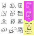 e-learning education icons set of graduation cap vector image