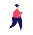 fat woman jogging to lose weight vector image