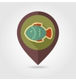Fish flat mapping pin icon with long shadow vector image vector image