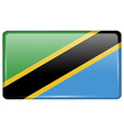 Flags Tanzania in the form of a magnet on vector image vector image