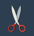 Flat scissors icon with shadow vector image vector image
