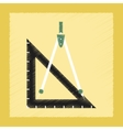 flat shading style icon ruler compass vector image