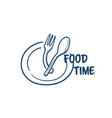food time plate with spoon fork prepare for eating vector image vector image