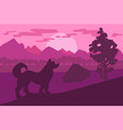 forest camping with best friend - dog vector image vector image