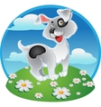 Fun white dog on a color background vector image vector image