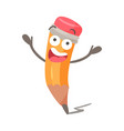 funny cartoon surprised humanized pencil character vector image vector image