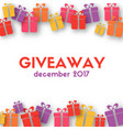 giveaway banner template with gift boxes vector image vector image