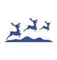 group of reindeer jumping scene vector image