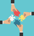 Hands putting puzzles together vector image vector image