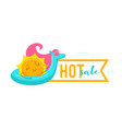 hot sale banner with kawaii sun character floating vector image