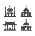 house worship icons set vector image vector image