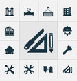 industry icons set with trolley high rise vector image