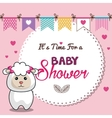 invitation baby shower card pink with sheep desing vector image vector image