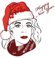 lady with christmas hat vector image