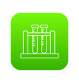 medical test tubes icon green vector image vector image
