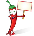mexican chili cartoon with signboard on white vector image vector image