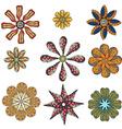 monochrome doodle flowers vector image vector image