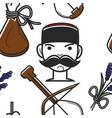 montenegrin man with mustache and national symbols vector image vector image