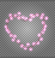 pink light bulbs in heart shaped frame vector image vector image