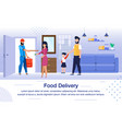 pizzeria delivery flat banner poster vector image vector image
