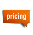 pricing orange 3d speech bubble vector image vector image