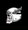 racer skull in winged helmet on black background vector image vector image