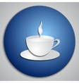 round blue Coffee Cup button with paper cut image vector image vector image