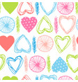 seamless pattern with abstract hearts and feathers vector image