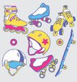 set of roller skates skateboard helmets wheel vector image vector image