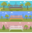set urban cityscape with bench in park vector image