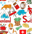 Sketch Switzerland seamless pattern vector image vector image