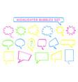 speech cloud sketchy highlight pen set vector image vector image