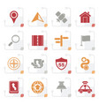 stylized gps navigation and road icons vector image vector image