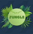 tropical banner with green palm leaves green vector image