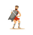 warrior character man with a sword and a shield vector image vector image
