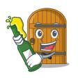 with beer vintage wooden door on mascot cartoon vector image vector image