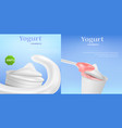 yogurt box tasty banner set realistic style vector image