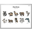 zoo icons linecolor pack vector image