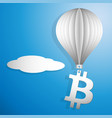 bitcoin icon flying on a white paper balloon up vector image