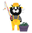 cool cartoon cat like fisherman with bucket of vector image