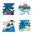 simply icons set with winter cute landscapes vector image