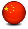 A ball designed with the flag of China vector image vector image