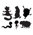 Animals in black and gray colors vector image vector image