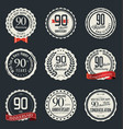 anniversary retro vintage badge collection 90 vector image vector image
