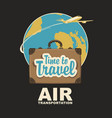 banner with plane suitcase and planet earth vector image