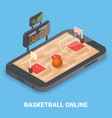 basketball online concept flat isometric vector image vector image