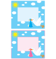 Border with a stork and newborn child vector image