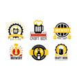 brewery craft beer retro labels set best recipe vector image vector image