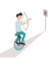 business aiming target while riding cycle vector image vector image